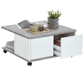 FMD Salontafel verplaatsbaar 70x70x35,5 cm grijskleurig glanzend wit