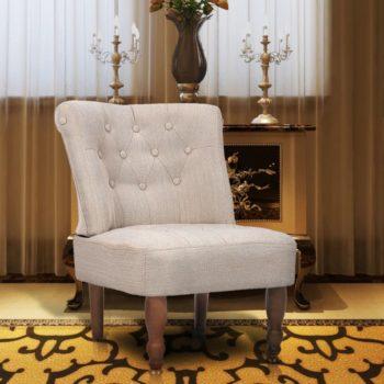 vidaXL Franse stoel crème stof