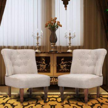 vidaXL Franse stoelen 2 st stof crème