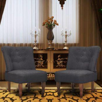 vidaXL Franse stoelen 2 st stof grijs