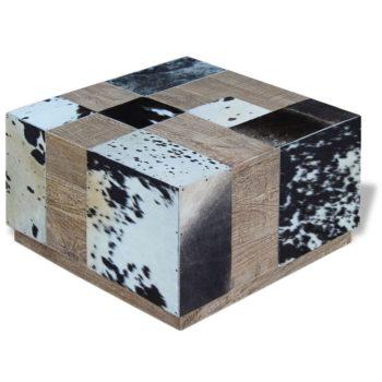 vidaXL Salontafel echt koeienleer 60x60x36 cm