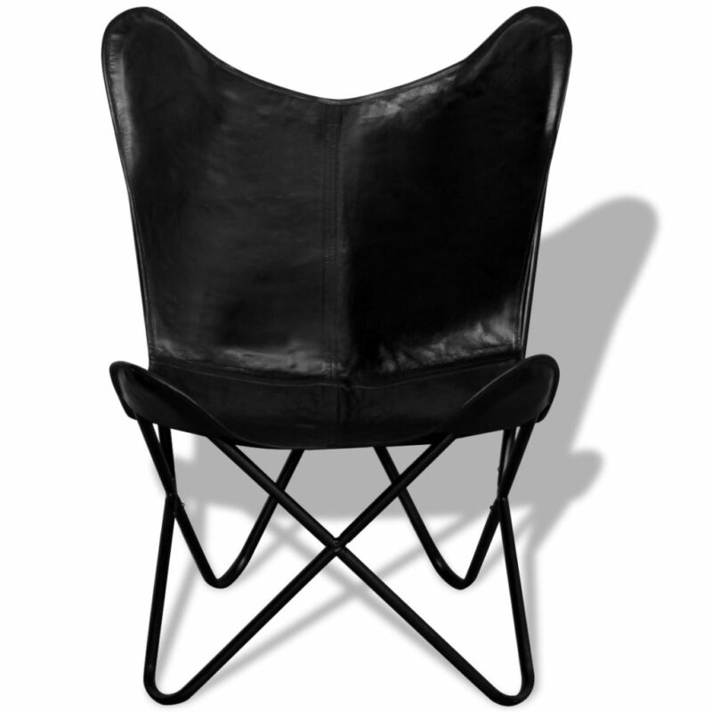 Vlinderstoel echt leer zwart