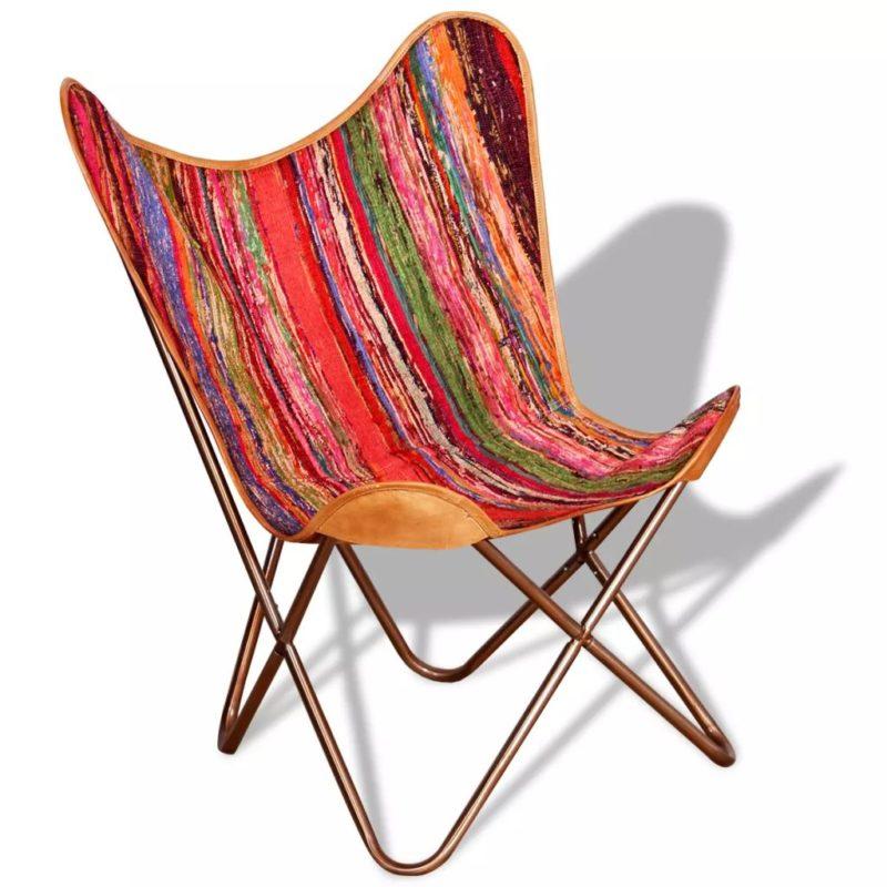 vidaXL Vlinderstoel chindi stof meerkleurig