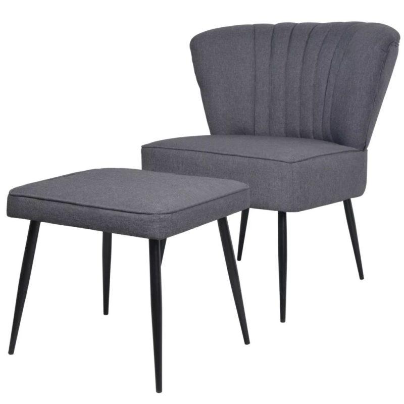 vidaXL Cocktailstoel met voetenbank stof donkergrijs