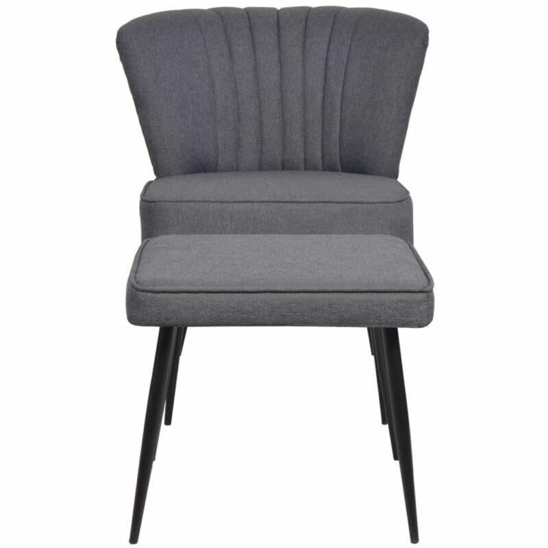 Cocktailstoel met voetenbank stof donkergrijs