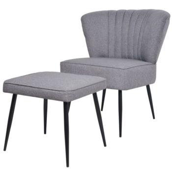 vidaXL Cocktailstoel met voetenbank stof lichtgrijs