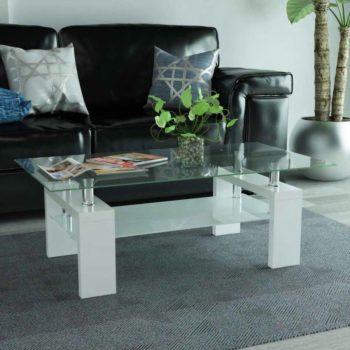 vidaXL Hoogglans salontafel met legplank 110x60x40 cm wit