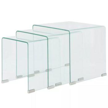 vidaXL Bijzettafel set 3-dlg transparant gehard glas