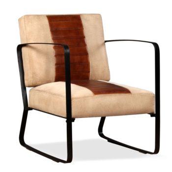 vidaXL Loungestoel echt geitenleer en canvas bruin