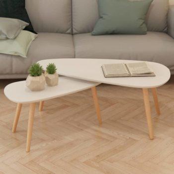 vidaXL 2-delige Salontafelset massief grenenhout wit