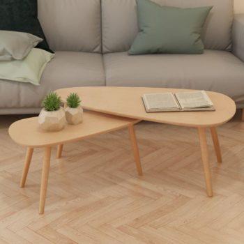 vidaXL 2-delige Salontafelset massief grenenhout bruin