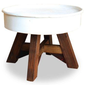 vidaXL Salontafel 60×45 cm massief gerecycled hout wit