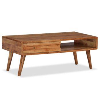 vidaXL Salontafel met bewerkte lade 100x50x40 cm massief hout