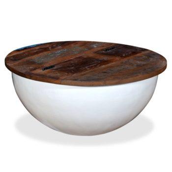 vidaXL Salontafel komvormig massief gerecycled hout wit
