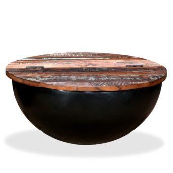 vidaXL Salontafel komvormig massief gerecycled hout zwart