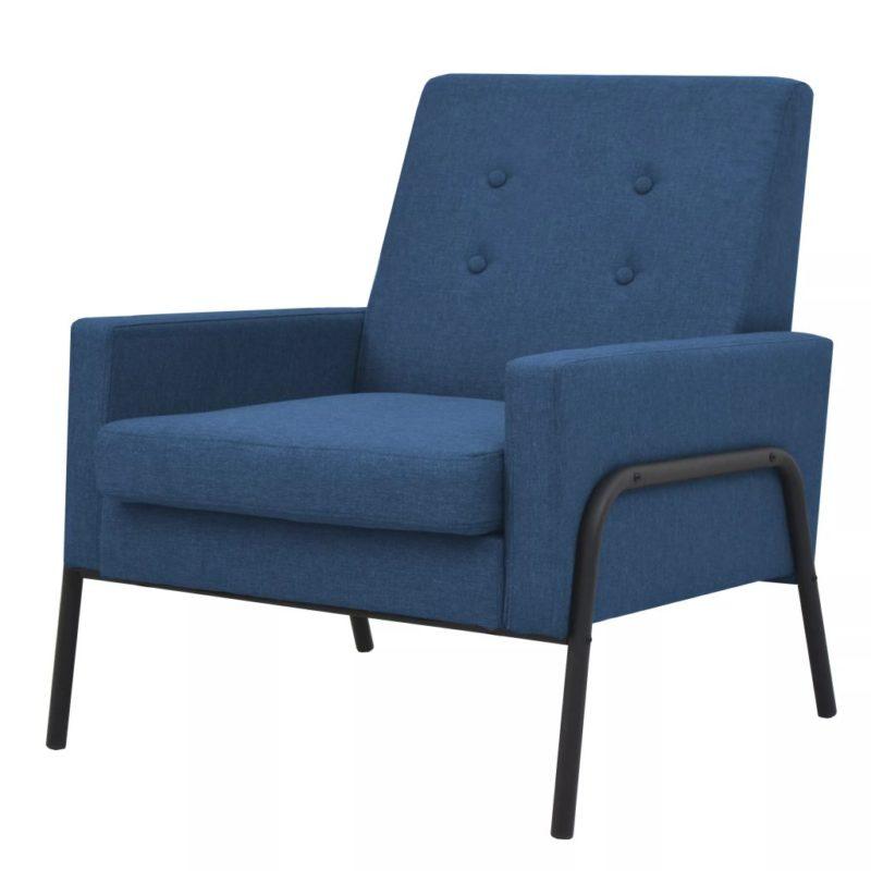 vidaXL Fauteuil staal en stof blauw