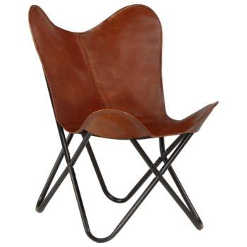 vidaXL Vlinderstoel kindermaat echt leer bruin