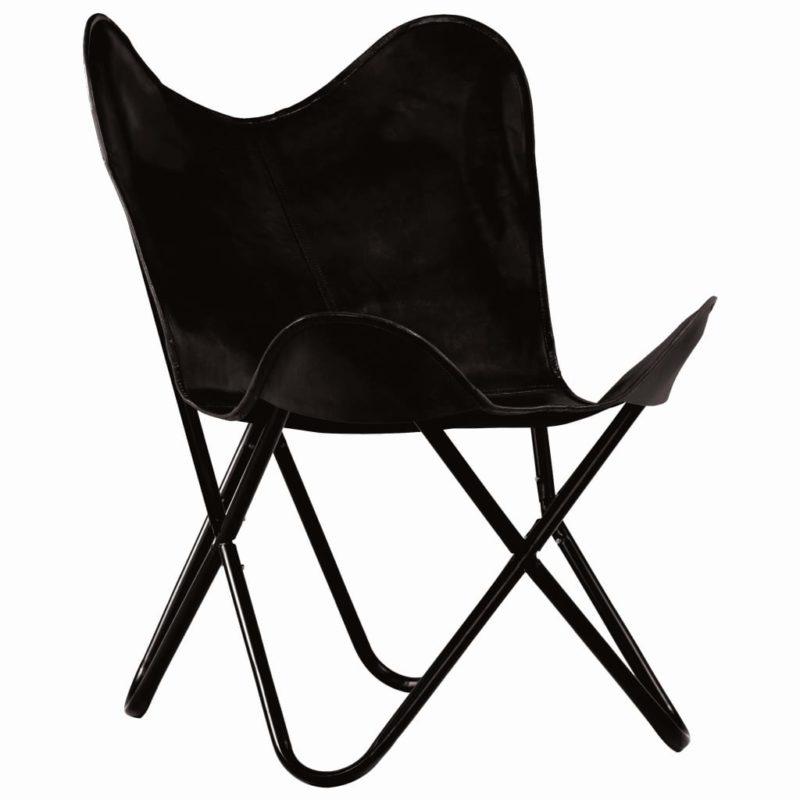 vidaXL Vlinderstoel kindermaat echt leer zwart