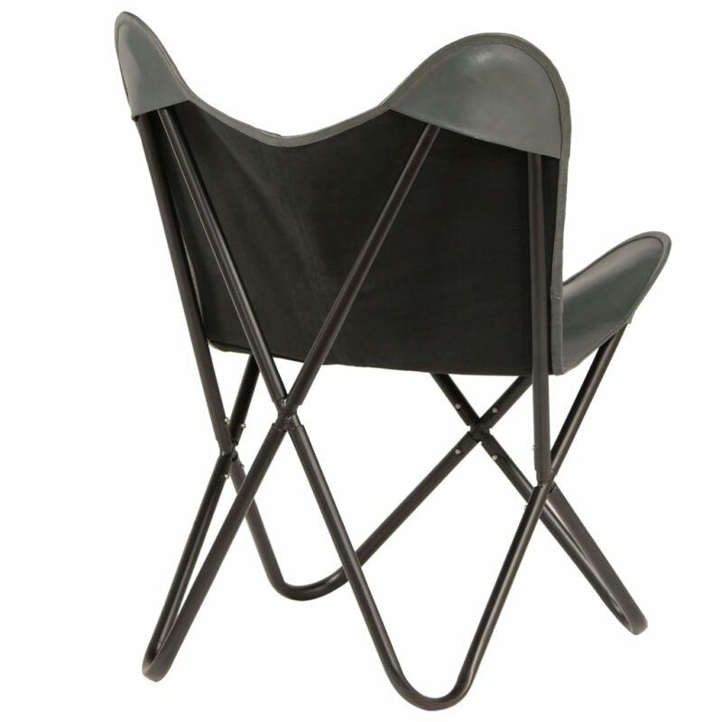 Vlinderstoel echt leer grijs
