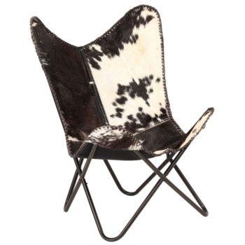 vidaXL Vlinderstoel echt geitenleer zwart en wit