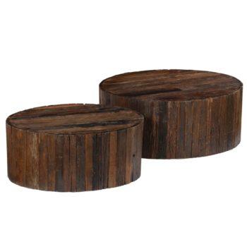 vidaXL 2-delige Salontafelset massief gerecycled hout