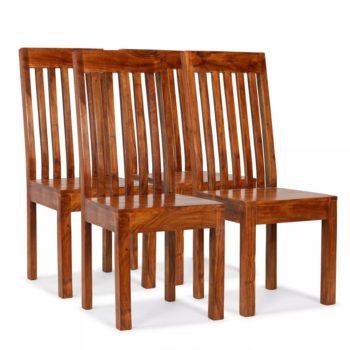 vidaXL Eetkamerstoelen modern hout met sheesham afwerking 4 st