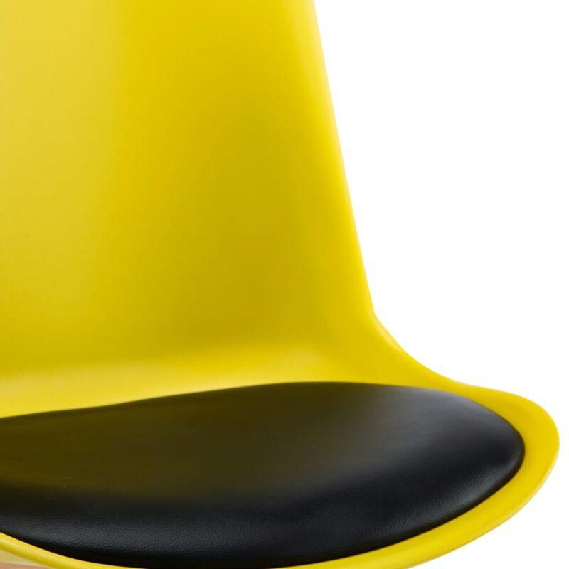 Eetkamerstoelen 4 st kunstleer geel en zwart
