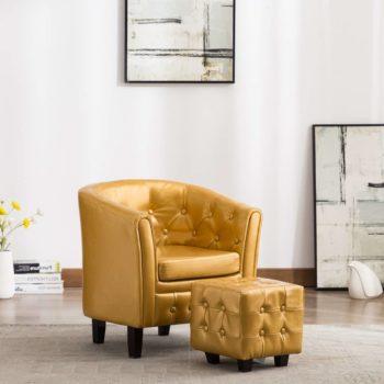 vidaXL Kuipstoel met voetenbankje kunstleer goudkleurig