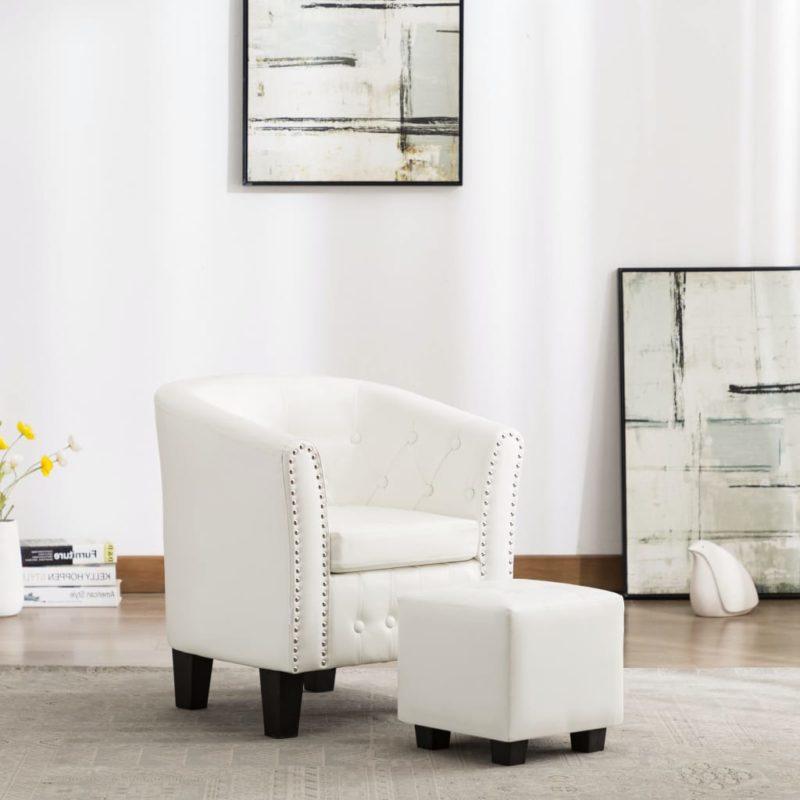 vidaXL Kuipstoel met voetenbankje kunstleer wit