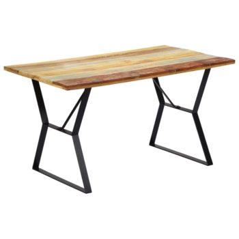 vidaXL Eettafel 140x80x76 cm massief gerecycled hout
