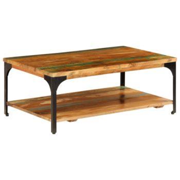 vidaXL Salontafel met schap 100x60x35 cm massief gerecycled hout