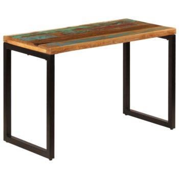 vidaXL Eettafel 115x55x76 cm massief gerecycled hout en staal