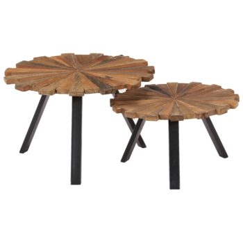 vidaXL Salontafels 2 st massief gerecycled hout