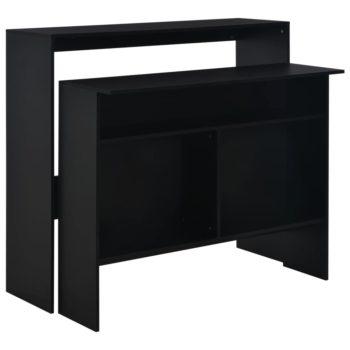 vidaXL Bartafel met 2 tafelbladen 130x40x120 cm zwart