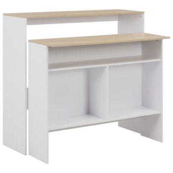 vidaXL Bartafel met 2 tafelbladen 130x40x120 cm wit en eikenkleurig