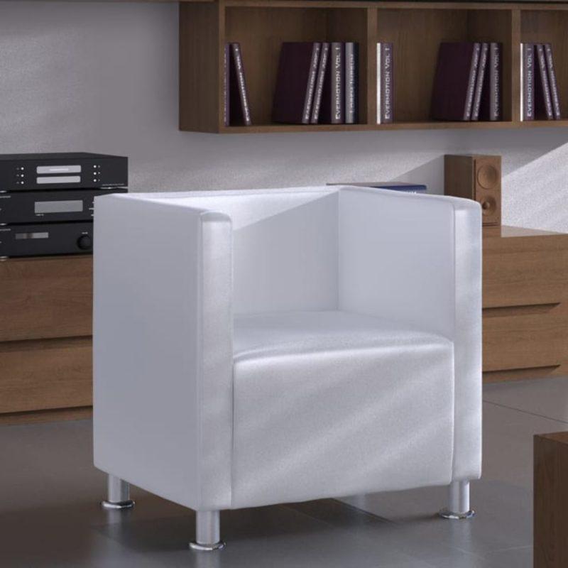 vidaXL Fauteuil kubus kunstleer wit