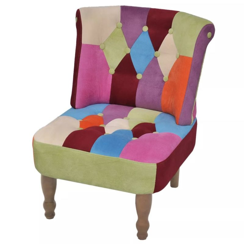 vidaXL Franse stoel met patchwork ontwerp stof