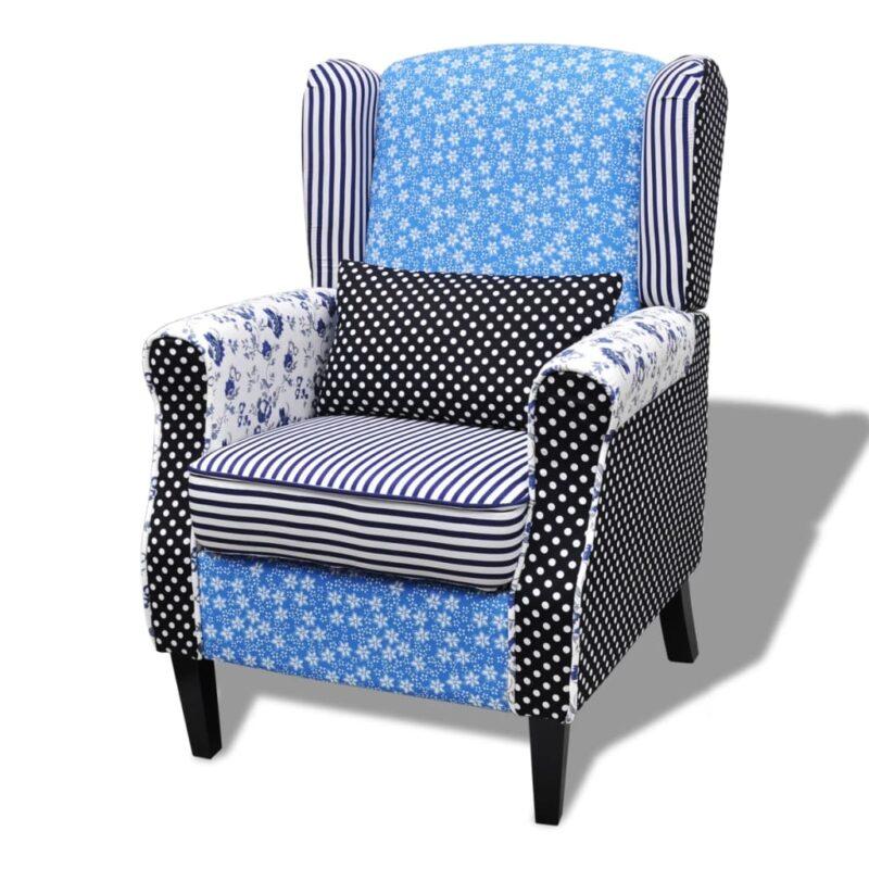 Fauteuil met patchwork stof blauw/grijs