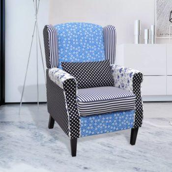 vidaXL Fauteuil met patchwork stof blauw/grijs