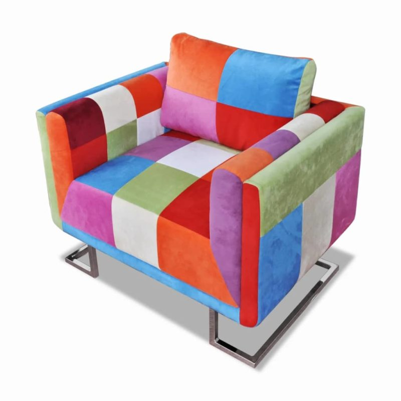 vidaXL Fauteuil met patchwork ontwerp en verchroomde poten kubus stof