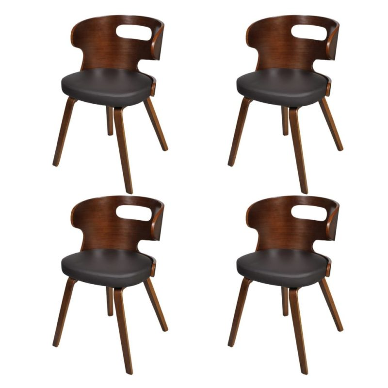 vidaXL Eetkamerstoelen 4 st gebogen hout en kunstleer bruin