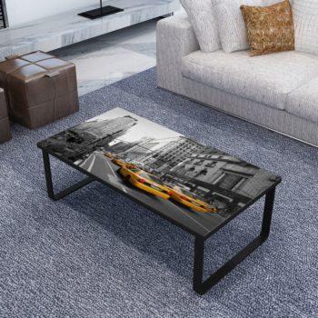 vidaXL Salontafel met glazen tafelblad rechthoekig