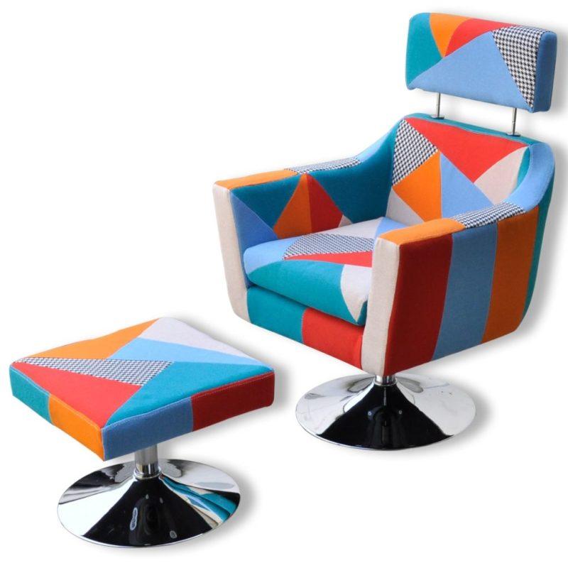 vidaXL Televisiefauteuil met patchwork stof meerkleurig