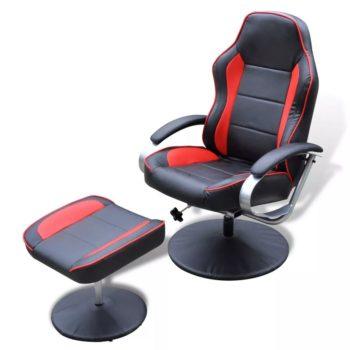 vidaXL Fauteuil met voetenbankje kunstleer zwart en rood