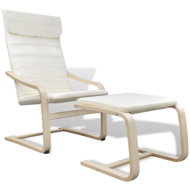 vidaXL Fauteuil met gebogen houten frame stof crème