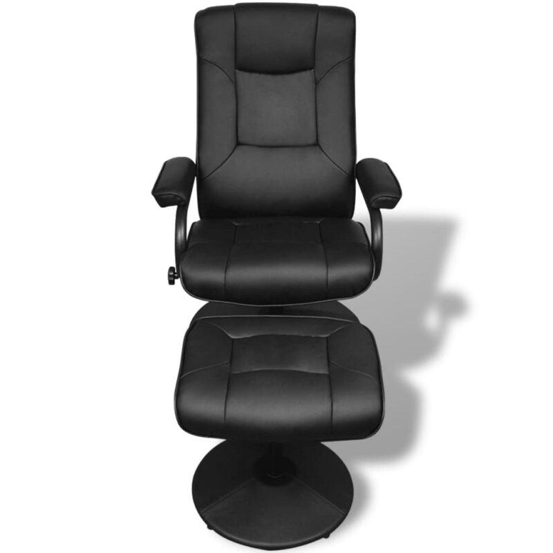 Tv-fauteuil met voetenbankje kunstleer zwart
