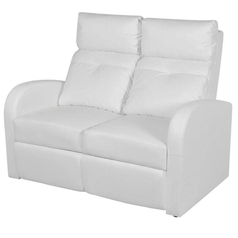 vidaXL Dubbele relaxfauteuil zonder middenleuning kunstleer wit