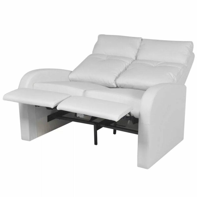 Dubbele relaxfauteuil zonder middenleuning kunstleer wit