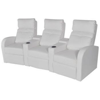vidaXL Driedubbele relaxfauteuil met middenleuning kunstleer wit