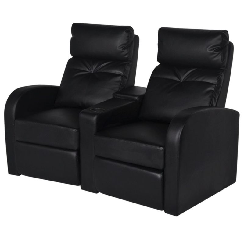 vidaXL Dubbele relaxfauteuil met middenleuning kunstleer zwart